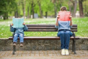 Two Readers on a Park Bench